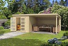 Gartenhaus G178 inkl. Schleppdach - 28 mm Blockbohlenhaus, Grundfläche: 15,40 m², Pultdach
