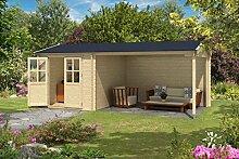 Gartenhaus G179 inkl. Schleppdach - 28 mm Blockbohlenhaus, Grundfläche: 15,40 m², Satteldach