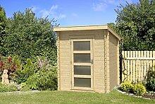 Gartenhaus G182 - 28 mm Blockbohlenhaus, Grundfläche: 3 m², Pultdach