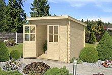 Gartenhaus G187 - 28 mm Blockbohlenhaus, Grundfläche: 5,30 m², Pultdach
