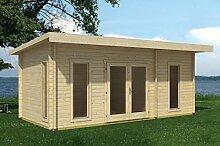 Gartenhaus G20 inkl. Fußboden - 44 mm Blockbohlenhaus, Grundfläche: 20,40 m², Pultdach