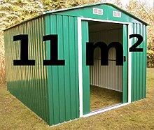 Gartenhaus Geräteschuppen 11m² aus verzinktem Stahlblech Metall grün von AS-S