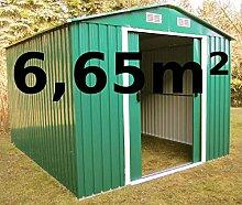 Gartenhaus Geräteschuppen 6,65m² aus verzinktem Stahlblech Metall grün von AS-S