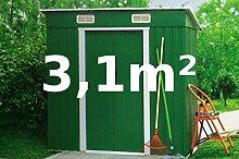 Gartenhaus Geräteschuppen Metallhütte 3,1m² aus verzinktem Stahlblech Metall grün von AS-S