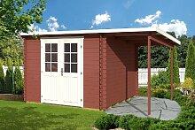 Gartenhaus GLORIA E 28 + 150 cm Schleppdach Blockhaus 290 x 290 cm Holzhaus 28mm