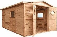 Gartenhaus JUMBO mit Boden   Holz   14,2m²   333x427    Geräteschuppen Partyhaus Hütte Holzhaus   Kiefer   Massiv   Braun   Druckimpregniert   Wooder