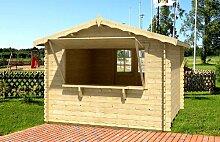 Gartenhaus KIOSK Blockhaus 300 x 300cm - 28mm - Inkl. Fußboden + Verglasung Gartenlaube Holzhaus Holzlaube