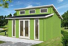 Gartenhaus LANGEOOG B70 Blockhaus Holzhaus 470 x 350 cm - 70 mm Ferienhaus