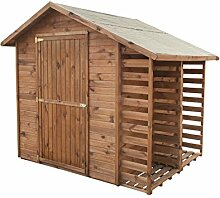 Gartenhaus MASTER mit Brennholzregal   Holz  2,9m²   259x213   Geräteschuppen Holzunterstand   Kiefer   Massiv   Braun   Druckimpregniert   Wooder