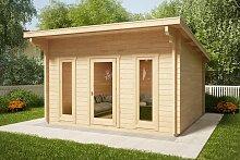 Gartenhaus mit Pultdach Aruba 15m² / 44mm / 4×4