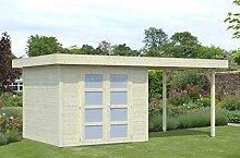 Gartenhaus mit Seitendach Pinus P10a naturbelassen - 28 mm Blockbohlenhaus, Grundfläche: 6 m², Flachdach