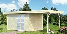 Gartenhaus mit Seitendach Pinus P10b naturbelassen- 28 mm Blockbohlenhaus, Grundfläche: 8,40 m², Flachdach