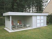 Gartenhaus mit Seitendach Pirum S8387 - 28 mm Blockbohlenhaus, Grundfläche: 7,65 m², Flachdach