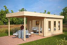 Gartenhaus mit Sonnendach Jacob E 12m² / 44mm / 3×4