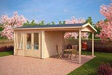Gartenhaus mit Sonnendach Nora D 9m² / 44mm / 3×3