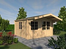 Gartenhaus ORCHIDEE Blockhaus 415 x 415cm - 35mm Gartenlaube Holzhaus Holzlaube