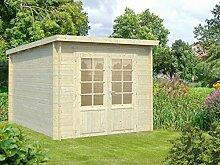 Gartenhaus Pinus P12a naturbelassen - 28 mm Blockbohlenhaus, Grundfläche: 6,90 m², Pultdach