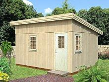 Gartenhaus Tilia T8, inkl. Fußboden, naturbelassen, Grundfläche: 15,10 m², Pultdach