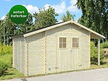 Gartenhaus Ulmus U9 inkl. Schleppdach und Anbauschuppen, naturbelassen - 19 mm Blockbohlenhaus, Grundfläche: 8,50 m², Satteldach