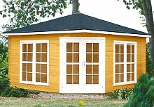 Gartenhaus VICTORIA - C40 Pavillon 400x400cm - 40mm - Inkl. Fußboden+Verglasung