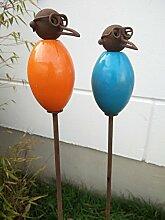 Garteninspiration 2 Blumenstecker mit Vogelmotiv