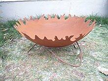 Garteninspiration Feuerschale mit Ständer Naturros