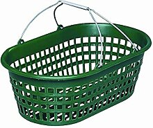 Gartenkorb mit Draht-Klappbügel, 15kg oval, Farbe: grün mit Draht-Klappbügel