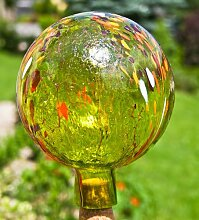 Gartenkugel aus Glas, Apfelgelb