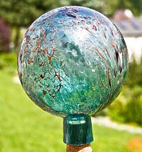 Gartenkugel aus Glas, Aquamarin