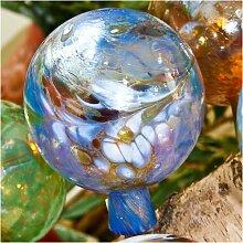 Gartenkugel aus Glas, Hellblau