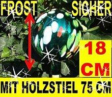 Gartenkugel-Gartendeko Rosenkugel,Glas verspiegelt, handwerklich hergestellt,18 cm,KOMPLETT MIT HOLZ-STIEL, gartendeko kugel FROSTSICHER, LICHT- und WETTERFEST, groß grün weiß gelb rote Punkte Gartenkugeln Rosenkugel Rosenkugeln Glas
