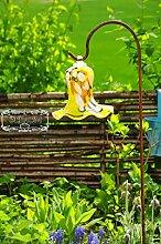 Gartenkugel Massivglas ROBUST, Tulpe Tropfen, Blume mit Hakenhalter Schäferstab FROSTSICHER & MASSIV Glas-Dekoration Blüte Gartentulpe Glocke Sonnenfänger für Lichteffekte im Garten, Rosenkugel 17 cm gross Form Tulpe 125cm Höhe mit Schäferstab -Tulpenform gelb weiß mit hübschem Blumenmuster Gartenkugeln, Gartendeko FROSTSICHER, lichtbeständig und WINTERFEST, Metallstiel Bogenstab Rosenkugeln Glas Deko