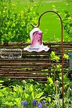 Gartenkugel Massivglas ROBUST, Tulpe Tropfen, Blume mit Hakenhalter Schäferstab FROSTSICHER & MASSIV Glas-Dekoration Blüte Gartentulpe Glocke Sonnenfänger für Lichteffekte im Garten, Rosenkugel 17 cm gross Form Tulpe, modisches Tulpendesign handgefertigt mit Bogenstab 125 cm, rot weiß Gartenkugeln, Gartendeko FROSTSICHER, lichtbeständig und WINTERFEST, Metallstiel Schäferstab Rosenkugeln Glas Deko