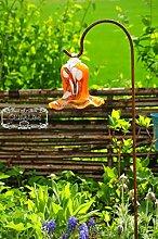 Gartenkugel Massivglas ROBUST, Tulpe Tropfen, Blume mit Hakenhalter Schäferstab FROSTSICHER & MASSIV Glas-Dekoration Blüte Gartentulpe Glocke Sonnenfänger für Lichteffekte im Garten, Rosenkugel 17 cm gross Form Tulpe, modisches Tulpendesign handgefertigt mit Bogenstab 125 cm, orange weiß mit süßem Blumenmuster Gartenkugeln, Gartendeko FROSTSICHER, lichtbeständig und WINTERFEST, Metallstiel Schäferstab Rosenkugeln Glas Deko