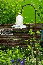 Gartenkugel Massivglas ROBUST, Tulpe Tropfen, Blume mit Hakenhalter Schäferstab FROSTSICHER & MASSIV Glas-Dekoration Blüte Gartentulpe Glocke Sonnenfänger für Lichteffekte im Garten, Rosenkugel 17 cm gross Form Tulpe 125cm Höhe mit Schäferstab -Tulpenform weiß Gartenkugeln, Gartendeko FROSTSICHER, lichtbeständig und WINTERFEST, Metallstiel Bogenstab Rosenkugeln Glas Deko