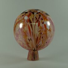 Gartenkugel Rosenkugel mit Granulat rosa d 15cm mundgeblasen handgeformt Lauschaer Glas das Original