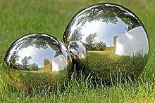 Gartenkugel Set poliert 18 und 27 cm aus Edelstahl Silber Kugel Dekokugel