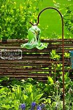 Gartenkugel Tulpe Tropfen, Blume mit Hakenhalter Schäferstab WINTERFEST & ROBUST Glas-Dekoration Blüte Gartentulpe Glocke Rosenkugel 17 cm gross Form Tulpe, modisches Tulpendesign handgefertigt mit Bogenstab 125 cm, grün weiß schwarz gartenkugeln, Sonnenfänger-Kugel, Sonnenfänger-Scheibe, Sonnenfängerscheiben, Gartendeko FROSTSICHER, lichtbeständig und WINTERFEST, Metallstiel Schäferstab Rosenkugel Rosenkugeln Glas Deko