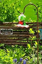 Gartenkugel Tulpe Tropfen, Blume mit Hakenhalter Schäferstab WINTERFEST & ROBUST Glas-Dekoration Blüte Gartentulpe Glocke Rosenkugel 17 cm gross Form Tulpe, modisches Tulpendesign handgefertigt mit Bogenstab 125 cm, grün rot weiß gartenkugeln, Sonnenfänger-Kugel, Sonnenfänger-Scheibe, Sonnenfängerscheiben, Gartendeko FROSTSICHER, lichtbeständig und WINTERFEST, Metallstiel Schäferstab Rosenkugel Rosenkugeln Glas Deko