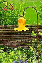 Gartenkugel Tulpe Tropfen, Blume mit Hakenhalter Schäferstab WINTERFEST & ROBUST Glas-Dekoration Blüte Gartentulpe Glocke Rosenkugel 17 cm gross Form Tulpe, modisches Tulpendesign handgefertigt mit Bogenstab 125 cm, gelb orange gartenkugeln, Sonnenfänger-Kugel, Sonnenfänger-Scheibe, Sonnenfängerscheiben, Gartendeko FROSTSICHER, lichtbeständig und WINTERFEST, Metallstiel Schäferstab Rosenkugel Rosenkugeln Glas Deko