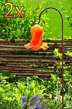 Gartenkugel Tulpe Tropfen, Blume mit Hakenhalter Schäferstab WINTERFEST & ROBUST Glas-Dekoration Blüte Gartentulpe Glocke Rosenkugel 17 cm gross Form Tulpe 125cm Höhe mit Schäferstab -Tulpenform rot orange gartenkugeln, Sonnenfänger-Kugel, Sonnenfänger-Scheibe, Sonnenfängerscheiben, Gartendeko FROSTSICHER, lichtbeständig und WINTERFEST, Metallstiel Bogenstab Rosenkugel Rosenkugeln Glas Deko