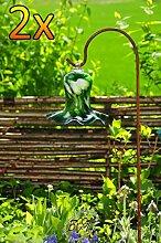 Gartenkugel Tulpe Tropfen, Blume mit Hakenhalter Schäferstab WINTERFEST & ROBUST Glas-Dekoration Blüte Gartentulpe Glocke Rosenkugel 17 cm gross Form Tulpe 125cm Höhe mit Schäferstab -Tulpenform grün weiß mit süßem Blütenmuster gartenkugeln, Sonnenfänger-Kugel, Sonnenfänger-Scheibe, Sonnenfängerscheiben, Gartendeko FROSTSICHER, lichtbeständig und WINTERFEST, Metallstiel Bogenstab Rosenkugel Rosenkugeln Glas Deko