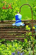 Gartenkugel Tulpe Tropfen, Blume mit Hakenhalter Schäferstab WINTERFEST & ROBUST Glas-Dekoration Blüte Gartentulpe Glocke Rosenkugel 17 cm gross Form Tulpe 125cm Höhe mit Schäferstab -Tulpenform dunkelblau hellblau gartenkugeln, Sonnenfänger-Kugel, Sonnenfänger-Scheibe, Sonnenfängerscheiben, Gartendeko FROSTSICHER, lichtbeständig und WINTERFEST, Metallstiel Bogenstab Rosenkugel Rosenkugeln Glas Deko