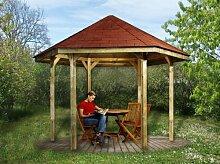 Gartenlaube 656 - Ausführung: Gr. 1, Variante: mit Dachschindeln, Schindelbedarf: 7 Pkt, Bemaßung: Firsthöhe 295 cm, Traufhöhe 208 cm