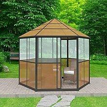Gartenlaube Aluminium 310x 270x 265cm braun