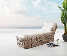 Gartenliege Florenz aus White Washed Rattan 90x180