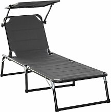 ® Gartenliege mit Dach Alu Sonnenliege Relaxliege