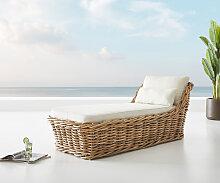Gartenliege Nizza aus Rattan Natur 90x180 cm Kissen