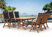 Gartenmöbel 13tlg mit 200cm Klapptisch Terrassenmöbel Santos Mad Black