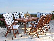 Gartenmöbel 17tlg mit 200cm Tisch Terrassenmöbel Santos Marine